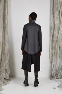 Charcoal Camel Drape Collar Unisex Jacket in Italian Wool Cashmere