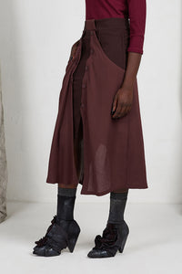 Unisex Layered Skirt with Button Off Drape panels and pockets