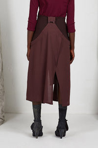 Unisex Layered Skirt with Button Off Drape panels in Italian Wool Crepe