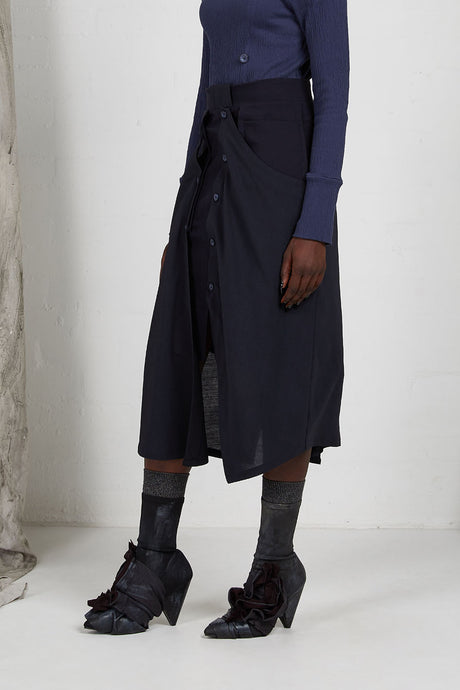 Unisex Layered Skirt with Button Off Drape panels