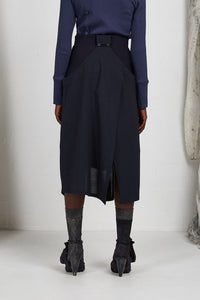 Unisex Layered Skirt with Button Off Drape panels in Italian Wool