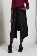 Load image into Gallery viewer, Black Unisex Layered Skirt with Button Off Drape panels