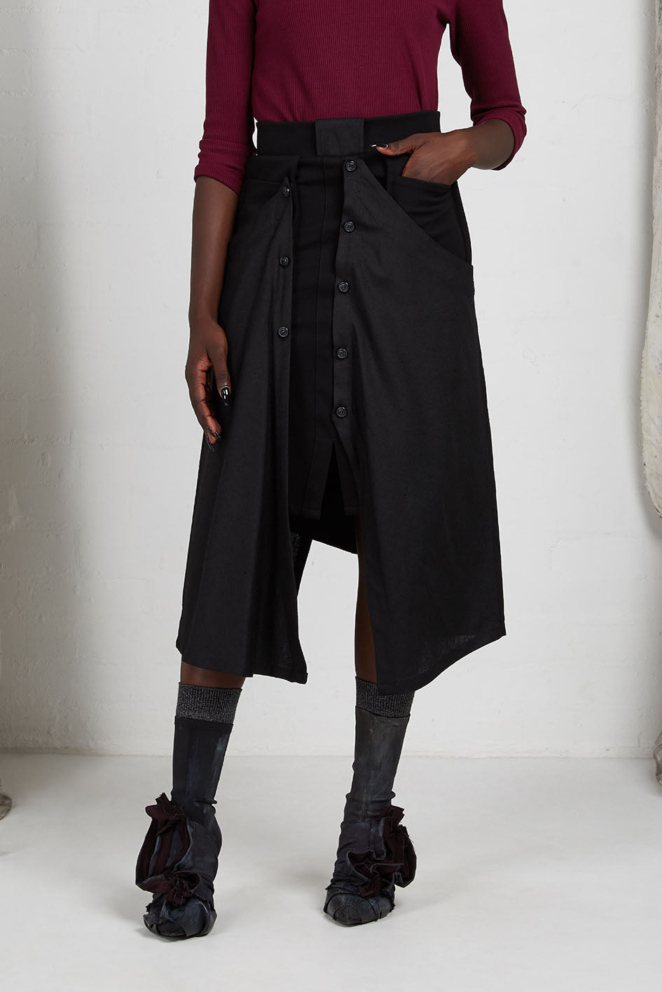 Black Unisex Layered Skirt with Button Off Drape panels