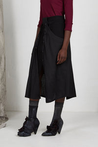 Black Unisex Layered Skirt with Button Off Drape panels with Pockets