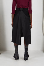 Load image into Gallery viewer, Black Viscose Unisex Layered Skirt with Button Off Drape panels