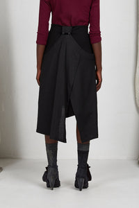 Black Viscose Unisex Layered Skirt with Button Off Drape panels