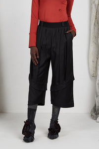 AW20 PLICA DOUBLE CUFF PANTS - OBSIDIAN