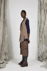 Unisex Tailored Wool Vest with Notched Shawl Collar