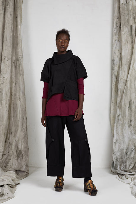 Black Origami Wool Shell Top