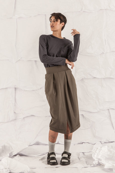 LENA STRETCH PENCIL SKIRT - MOSS