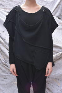 Japanese Black Crinkle Wool Cowl Neck Top