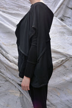 Load image into Gallery viewer, Japanese Black Crinkle Wool Draped Top