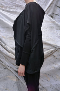 Japanese Black Crinkle Wool Draped Top