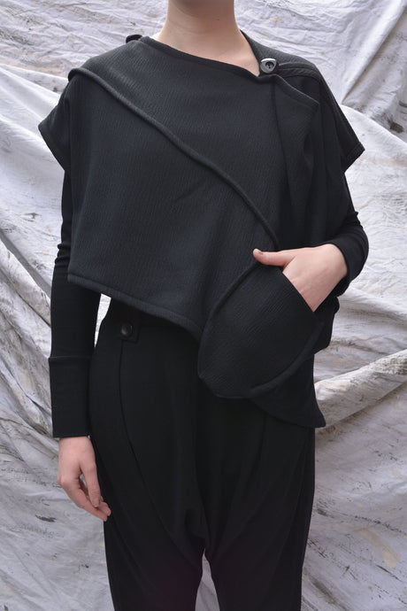 Japanese Crinkle Wool Drape Top