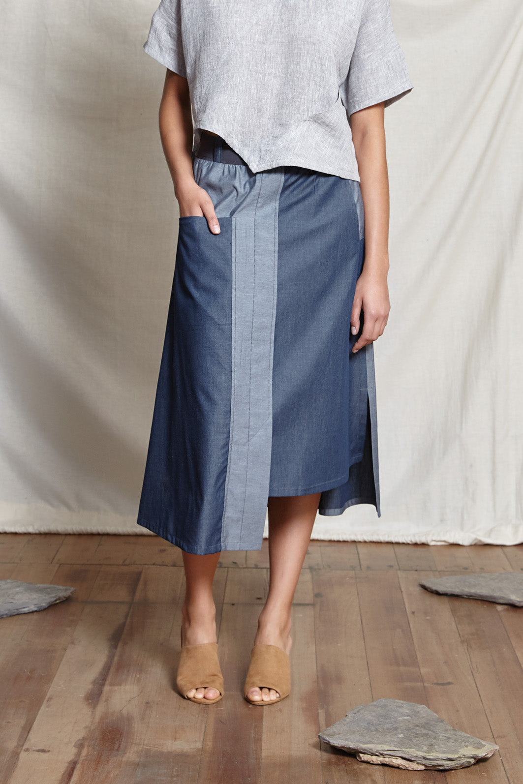 MIKA A LINE SKIRT - DENIM