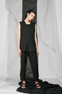 Italian Rib Viscose Men's Black Tank Top