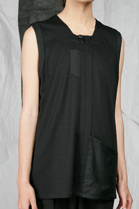 Italian Rib Viscose Men's Black Sleeveless Shirt with Pockets