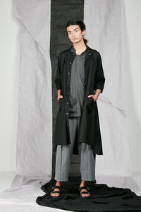 Black Long Line Unisex Shirt jacket