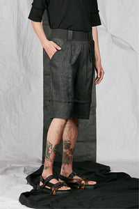 Men's Unisex Tailored Wool Shorts with large pockets