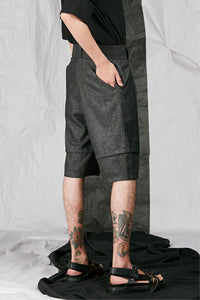 Men's Unisex Tailored Wool Shorts with back slant pockets