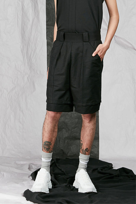 Black Cotton Jacquard Men's Unisex Tailored Shorts