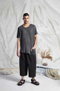 HEDI LONG LINE POCKET TEE - CHARCOAL RECOLLECTIONS PRINT