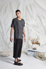 Load image into Gallery viewer, HEDI LONG LINE POCKET TEE - CHARCOAL RECOLLECTIONS PRINT