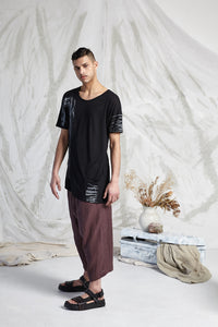 HEDI LONG LINE POCKET TEE - ONYX RECOLLECTIONS PRINT