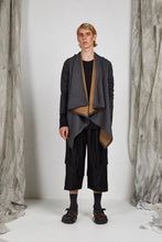 Load image into Gallery viewer, Unisex Draped Jacket in Charcoal Camel Italian Wool Cashmere