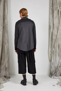 Unisex Draped Jacket in Charcoal Camel Italian Wool Cashmere