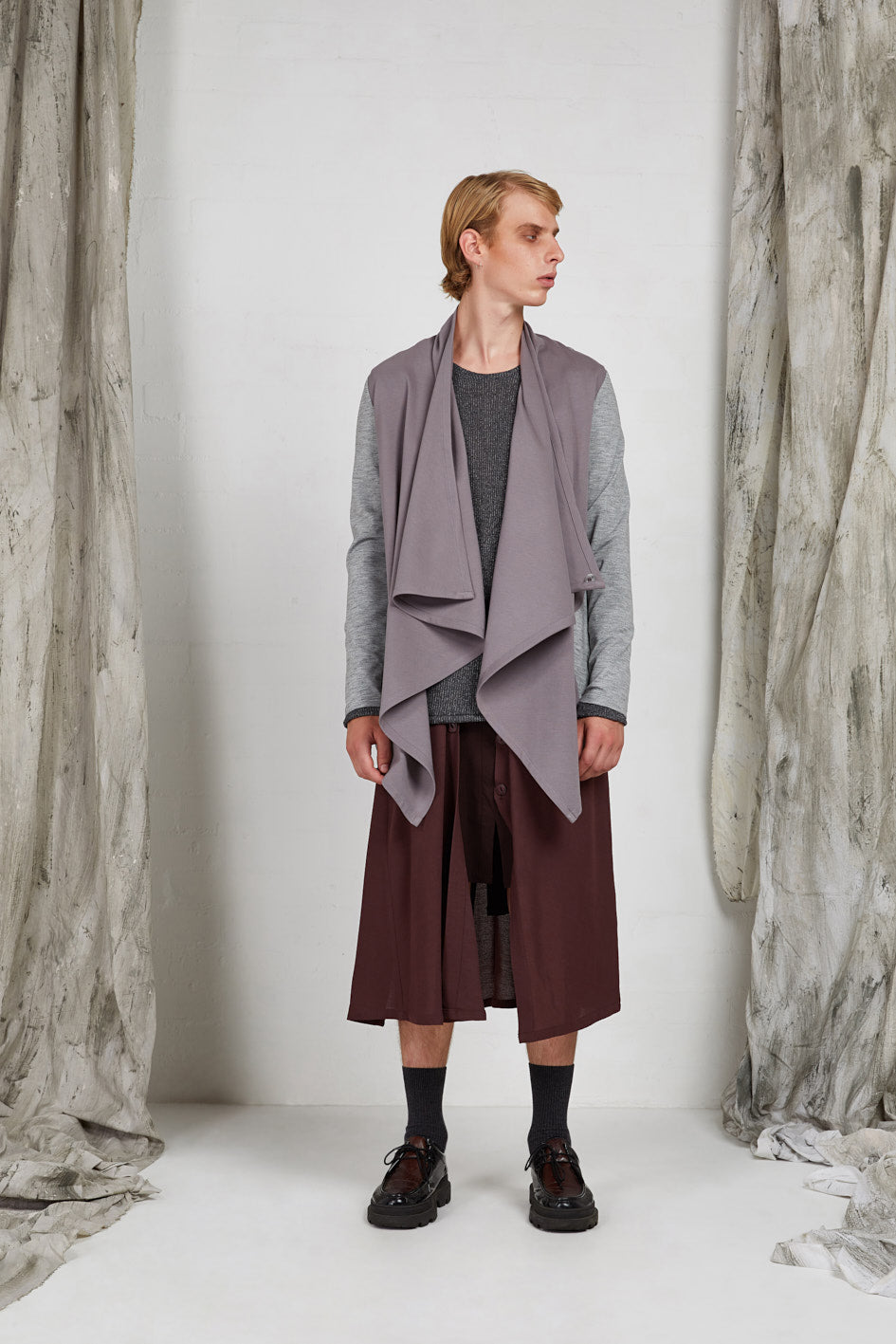 Waterfall Drape Shawl Collar Jacket in Viscose Ponti Knit