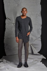 LINO LONG SLEEVE TOP - CHARCOAL