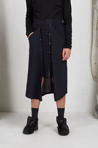 Tailored Menswear Unisex Skirt with Button off Drape Panels with Pockets