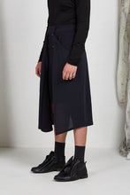 Load image into Gallery viewer, Tailored Menswear Unisex Skirt with Button off Drape Panels in Italian Wool Crepe Suiting