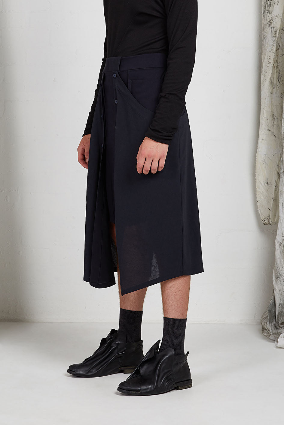 Tailored Menswear Unisex Skirt with Button off Drape Panels in Italian Wool Crepe Suiting