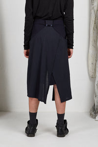 Tailored Menswear Unisex Skirt with Button off Drape Panels in Navy Italian Wool