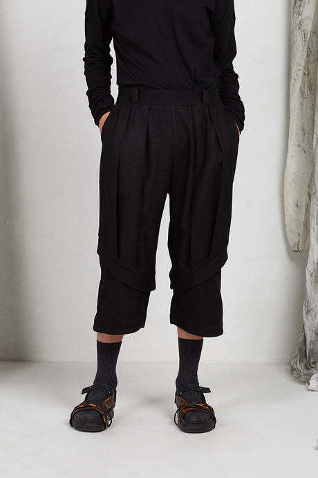 Unisex Black Tailored Wide Leg Pant in Italian Viscose