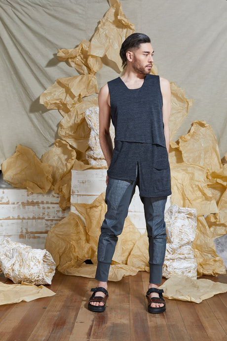 S/S 20 RAI REVERSIBLE TANK TOP - CHARCOAL MARLE