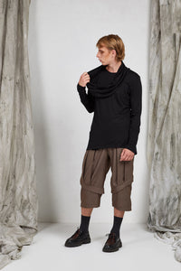 Men's Black Knit Long Sleeve Top with Loop Scarf