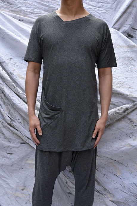 Grey Marle Jersey Long Line T-Shirt