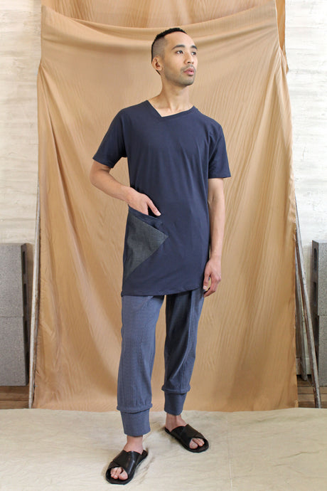 mens asymmetrical v neck long line tee