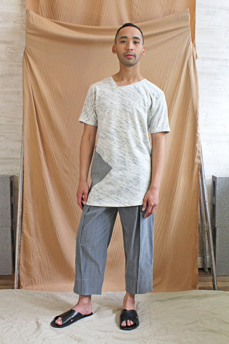 Mens Asymmetric V neck long line tee