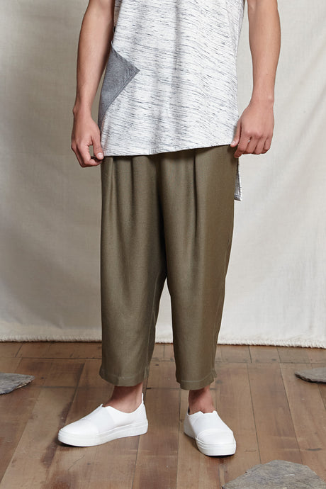 TAHLO WIDE LEG PANTS - MOSS