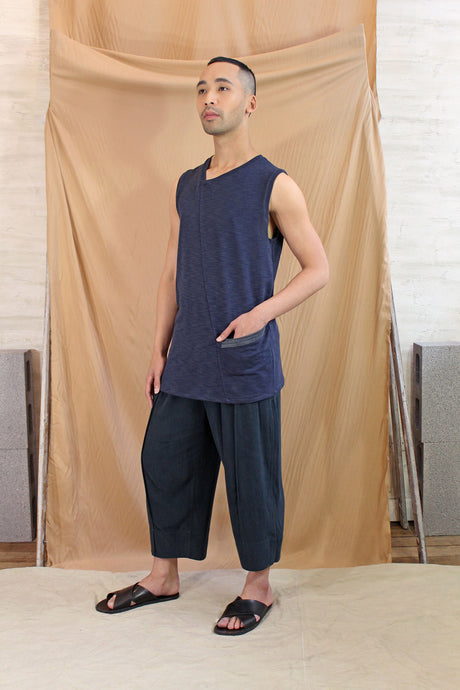 Mens V Neck Split Line Tank with Pocket