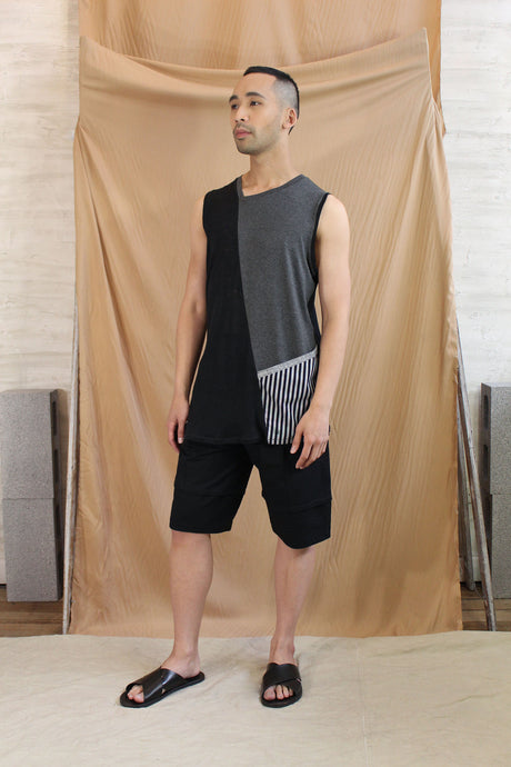 Monochrome Mens Tank with Contrast Pocket