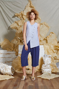 S/S 20 ALTA BUTTON TANK TOP - CHAMBRAY
