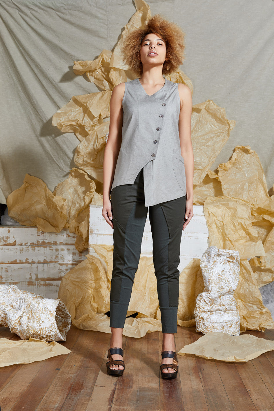 S/S 20 ALTA BUTTON TANK TOP - SAND