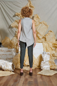 Asymmetrical Linen Tank Top