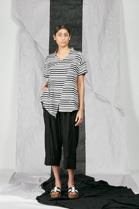 Women's Black White Stripe Flare Top