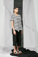 Load image into Gallery viewer, Women's Crinkle Bamboo Stripe Flare Top